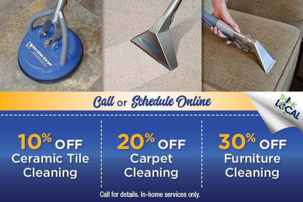 10% off ceramic tile cleaning, 20% off carpet cleaning, 30% off furniture cleaning
