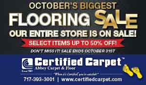 Certified Carpet's October flooring sale. Select items up to 50% off. Ends October 31